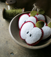a bunch (lilfishstudios) Tags: red white green apple thread recycled handmade craft bowl ornament spool jute lilfishstudios feltedwoolsweater