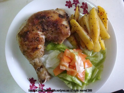Baked Chicken with Baked Fries and a Simple Salad