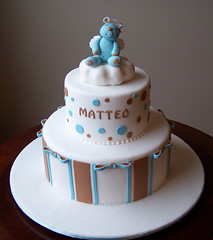 Baptism Cake for Baby Matteo (cakespace - Beth (Chantilly Cake Designs)) Tags: bear blue brown toronto cake angel beth baptism polkadots bow designs christening mississauga fondant baptismcake religiouscake firstcommunioncake mississaugacake customtopperstripes hanmouldedtopper cakespacebeth braziliancakestoronto cakechantilly