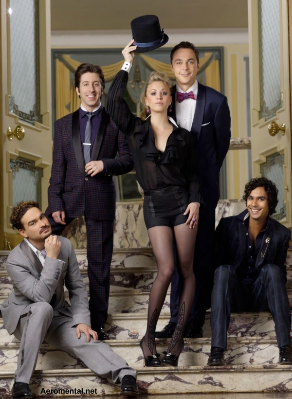 The cast of The Big Bang Theory in a poster with formal dress
