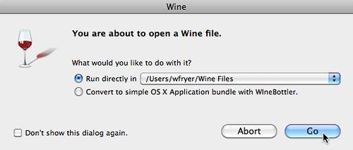 Running a Wine File