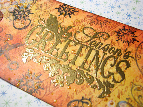 Seasons Greeting Gold Tag :: Close