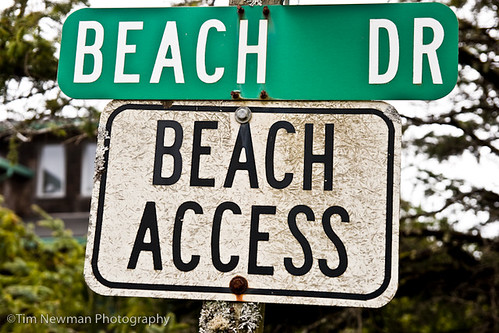 "Sign reading ""beach access"""