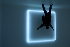 out of the box (Andy Kennelly) Tags: california blue light art 1969 silhouette museum out square lights los hands downtown neon gallery angeles box contemporary uv vacuum encased wheeler walls douglas curved moca raised plexiglass formed rm669 defused mygearandmepremium