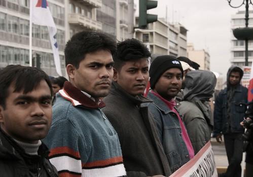 Trabajadroes inmigrantes en huelga general en Atenas el 10 de febrero - foto de Left~Lens en flickr
