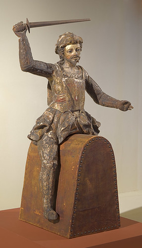 "Statue, polychrome and gesso on hardwood, ""Santiago de Compostella"" by unknown artist, Colonial Mexico, 17th century, at the Pere Marquette Gallery of the Saint Louis University Museum of Art, in Saint Louis, Missouri, USA"