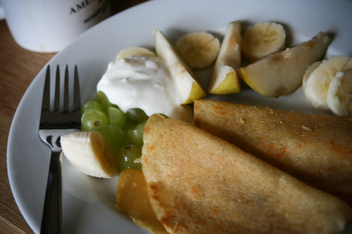 Cornmeal Crepes with Fresh Fruit and Soy Yogurt