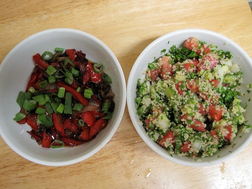 Peperonata in saor and tabouleh salad