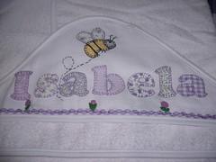 Toalha de banho Capuz p/ beb... (*Sonhos e Retalhos Ateli*) Tags: beb patchwork letras bordado costura patchcolagem toalhabebcomcapuz