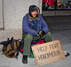 Help The Fight - Ottawa 03 10 (Mikey G Ottawa) Tags: street people ontario canada smile smiling sign fun message mark ottawa homeless best grin hobo panhandler phobia traveler mikeygottawa marcusthecarcass hobophobia