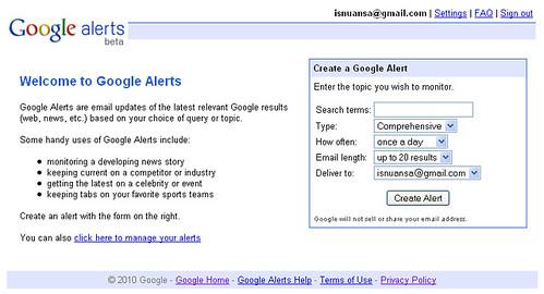 Manfaatkan Google Alert Untuk Blog Anda