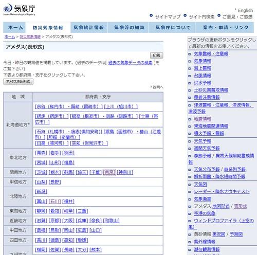 気象庁 - アメダス(表形式)_1268309840531