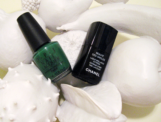 OPI Jade is the new Black nail polish fruit bowl
