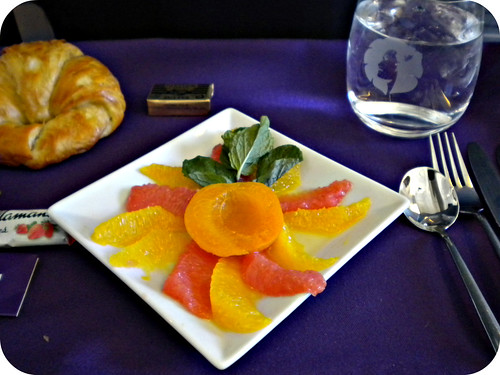 delicious 1st course of our breakfast on the plane