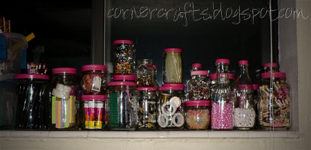 organization craft supplies pink painted lids glass jars
