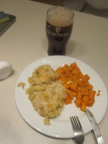 Mac and cheese, sweet potatoes, iced tea pretending to be Guiness