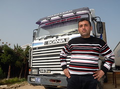 TRUCKING IN CYPRUS (Claude  BARUTEL) Tags: sea portrait truck turkey island mediterranean transport cyprus partition divided trucking scania
