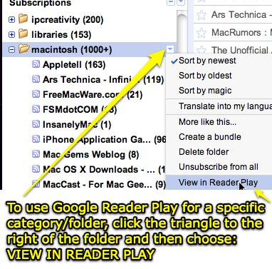 Google Reader Play