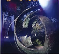 Spiraling (Jitterro) Tags: sculpture 120 6x6 film mediumformat spiral losangeles holga fuji lightleak ucla emulsion fujisuperiareala 100iso c41 universityofcalifornialosangeles prolab jitterro swanlabs