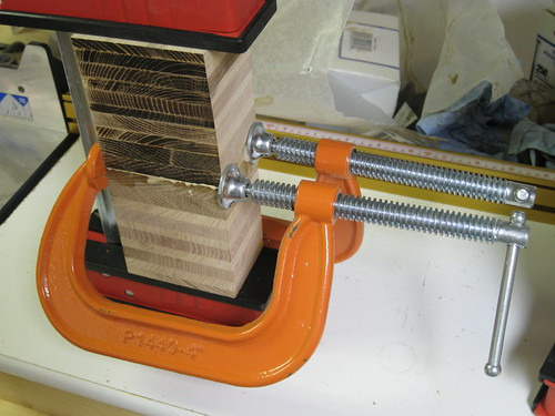 C clamps and Bessey K-Body clamps joining up butcher block pieces