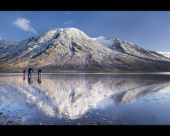 How small we are (Chee Seong) Tags: uk blue sky mountain snow reflection water canon scotland stones argyll tripod hill photographers glen layers loch clound cpl etive bute canon1022mm eite 400d