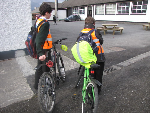 Pupils at Drumshanbo Voc Sch heading home on their bikes with high vis gear