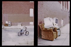 (patrickjoust) Tags: street city boy urban usa color slr film bicycle analog america pen 35mm computer out lens us reflex kid md chair alley focus diptych fuji child mechanical error f14 united small patrick maryland slide olympus baltimore monitor v human chrome single frame half overexposed epson ft mistake 40 states manual autos 40mm 500 halfframe damaged joust fujichrome provia e6 blown estados 100f reversal sized unidos gzuiko v500 autaut patrickjoust