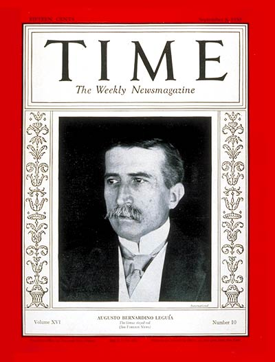 Leguía on the cover of Time
