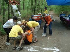 Ouachita Trail 50: Participant taking a break