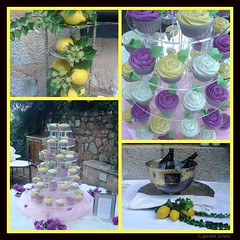 Wedding in Yellow, Violet and White ... (Cupcake Sisters (Senel)) Tags: wedding roses white green leaves yellow cupcakes lemon spain fdsflickrtoys display stuttgart champagne decoration violet espana mango vanilla mallorca majorca soller deia wildberries illesbaleares casxorc cupcakesisters