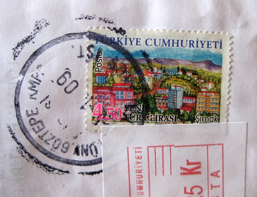 Turkish stamp with postmark