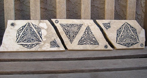 Celtic Stamps on Stone Tile