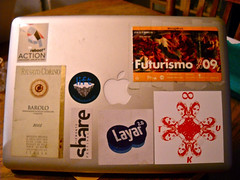 Laptop stickers Nov 2009 (brucesflickr) Tags: reboot brucesterling winelabel laptopstickers futurismo liftconference layar sharefestival tkvstreetart
