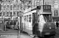 Amsterdams first articulated tram (2) (Amsterdam RAIL) Tags: amsterdam trolley tram centraalstation streetcar 1972 tramway route13 centralstation strassenbahn 851 grijs tranvia gvb stationsplein 601 stadsarchief tramvia 551 lijn13 gvba eerstegelede eerstedubbelgelede