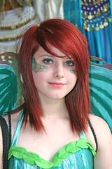 Redheaded Green Fairy (wyojones) Tags: blue red cute green girl beautiful beauty smile wings eyes colorful pretty texas lips trf redhead teen fairy renfaire lovely renaissancefestival facep