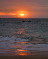 Sunset Reflections (oldt1mer) Tags: ocean sunset red sea sky holiday reflections island boat surf glow tropical santamaria sal caboverde capeverde platinumphoto fabbow