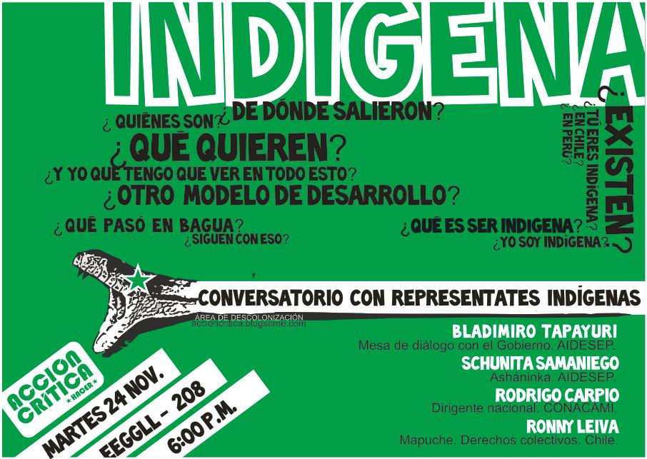 Martes 24: Conversatorio sobre Identidades indígenas