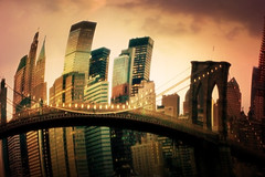 Happy Thanksgiving from NYC :-) (ilina s) Tags: nyc sunset newyork lights cityscape skyscrapers warp brooklynbridge