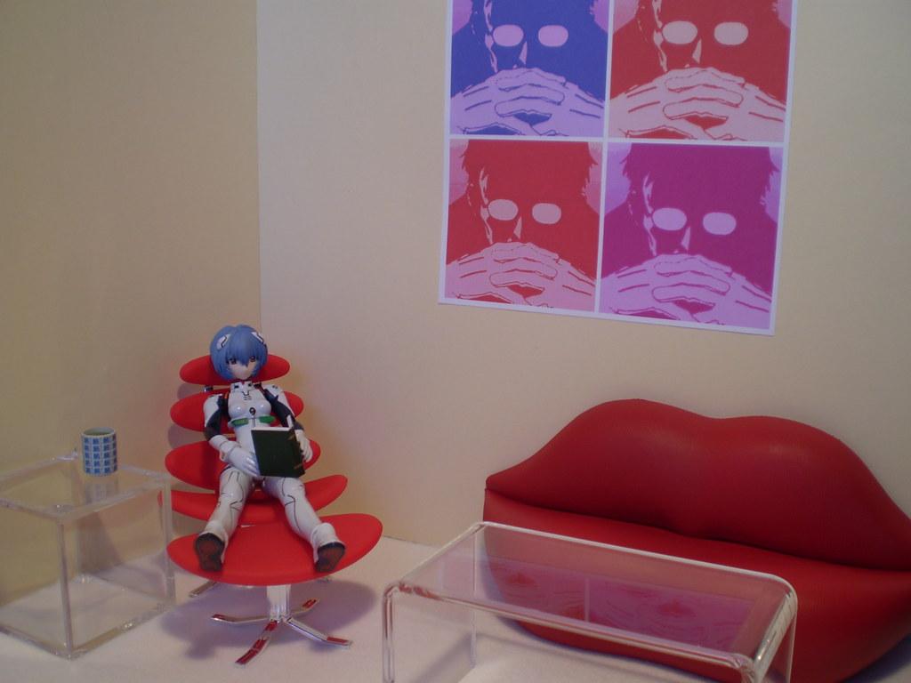 Rei Redecorated (Sashau0027s Lab) Tags: Blue Red Anime Macro Art Girl Modern  Print