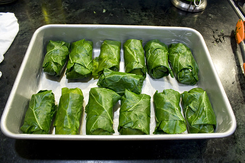 Pan of Wrapped up Collards
