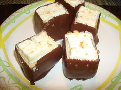 Robby's Creamsicle squares dipped in Chocolate