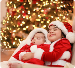 . (mylaphotography) Tags: santa christmas sleeping tree bokeh christmaslights dreaming merry asleep christmascard sisterbrother heartbokeh