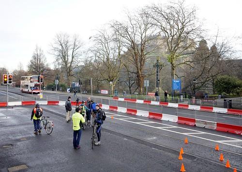 Tramlines cycle training on Princes Street, Edinburgh