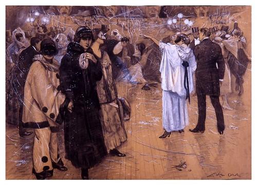 I.E.A. 22 FEBRERO 1914 - 1.º N.º VII. Págs. 112-113. BAILE DE MÁSCARAS-Dibujo de Oroz