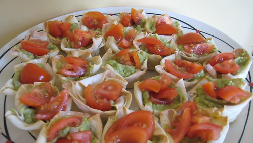 Avocado & cherry tomato salsa wonton cases