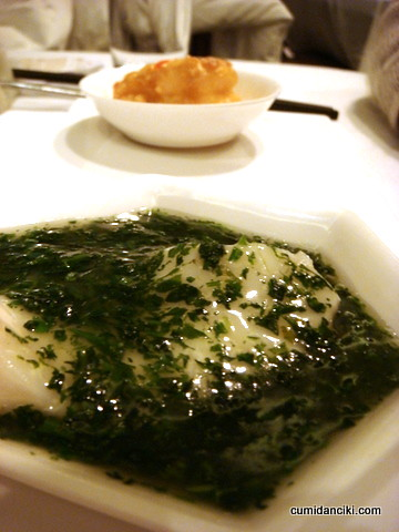 dynamic duo of steamed cod fish with 'Ji' vegetable and Crispy king prawn flavoured with crispy milk and oat flakes.