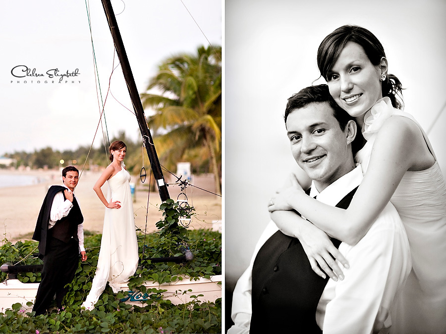 old sailboat over grown by vines bride and groom