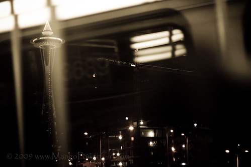 space needle from the bus