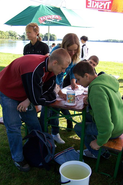Students in Poland preparing to test local water sources during World Water Monitoring Day with Animex, a subsidiary of Smithfield Foods