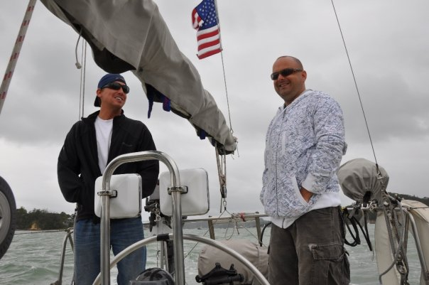 Drew & Trevor taking Dosia out for a test sail in Opua, NZ